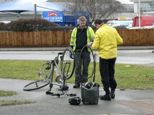 repairing a puncture on the ride
