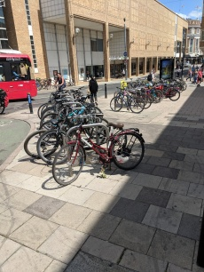 Very popular cycle parking outside TK Maxx