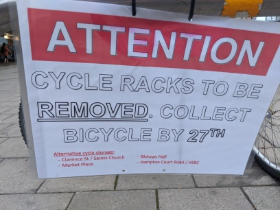Notice saying this cycle parking will be [temporarily] removed