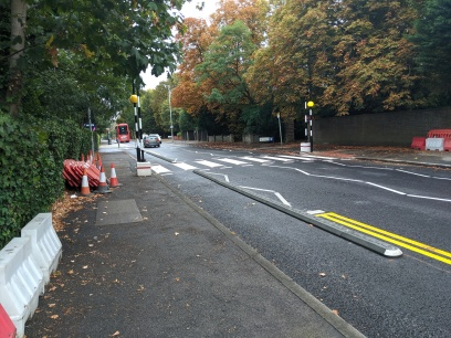 New zebra crossing and cycle segregation kerbs on Kingston Hill